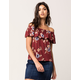 IVY & MAIN Floral Flounce Womens Off The Shoulder Top