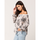 IVY & MAIN Button Front Womens Off The Shoulder Top