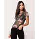 IVY & MAIN Floral Mesh Womens Tee