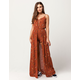 SKY AND SPARROW Lace Up Womens Walk Thru Maxi Romper