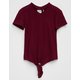 SKY AND SPARROW Tie Front Girls Choker Tee