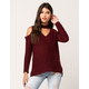 SKY AND SPARROW Cold Shoulder Womens Choker Sweater