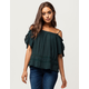 PATRONS OF PEACE Crochet Womens Cold Shoulder Top