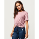 SKY AND SPARROW Knot Front Womens Tee