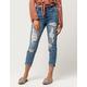 REWASH Button Waist Ripped Womens Mom Jeans