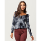 SKY AND SPARROW Tie Dye Womens Cold Shoulder Top