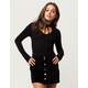 H.I.P. Lace Up Mock Neck Womens Top