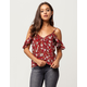 SOCIALITE Floral Ruffle Womens Cold Shoulder Top
