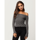 POLLY & ESTHER Ribbed Womens Off The Shoulder Top