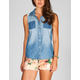 FULL TILT Womens Lace Yoke Chambray Shirt
