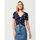 IVY & MAIN Floral Cinch Front Womens Top