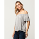 H.I.P. Solid Womens Off The Shoulder Top
