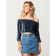 THE HANGER Velvet Womens Off The Shoulder Top