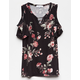 WHITE FAWN Floral Girls Cold Shoulder Top