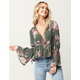 IVY & MAIN Floral Womens Surplice Top