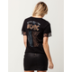 WHITE FAWN ACDC Lace Trim Womens Tee