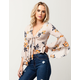 MILEY & MOLLY Floral Tie Front Womens Top