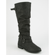QUPID Flat Buckle Womens Riding Boots