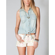 FULL TILT Tie Front Chambray Womens Shirt