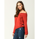 SKY AND SPARROW Smock Lace Front Womens Top