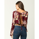 POLLY & ESTHER Floral Womens Crop Top