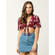 POLLY & ESTHER Floral Tie Front Womens Top