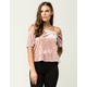 TRES BIEN Velvet Womens Off The Shoulder Top