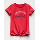 WHITE FAWN Weekend Knot Front Girls Tee