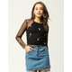 IVY & MAIN Floral Embroidered Womens Mesh Top