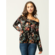SKY AND SPARROW Floral Lace Up Womens Off The Shoulder Top