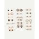 FULL TILT 20 Pairs Hamsa Moon Earrings