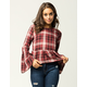SKY AND SPARROW Plaid Womens Peplum Top