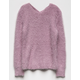 WOVEN HEART X Back Fuzzy Girls Sweater