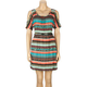 FULL TILT Ethnic Stripe Cold Shoulder Dress