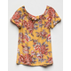 WHITE FAWN Floral Girls Peasant Top