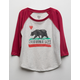 BILLABONG Cali Bear Love Girls Raglan Tee