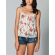 LOTTIE & HOLLY Floral Lace Trim Womens Top