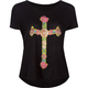WORKSHOP Floral Cross Womens Boxy Crop Tee