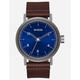 NIXON Stark Leather Silver & Blue Watch