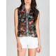 FULL TILT Floral Print Chambray Placket Womens Top