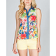 FULL TILT Floral Womens Chambray Placket Shirt