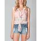 FULL TILT Lace Inset Cap Sleeve Womens Shirt