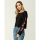 SOCIALITE Embroidered Rose Womens Sweatshirt