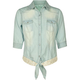FULL TILT Crochet Back Tie Front Girls Chambray Shirt