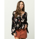 IVY & MAIN Floral Lace Up Womens Top