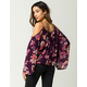 PATRONS OF PEACE Floral Tassel Womens Cold Shoulder Top