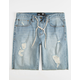 RSQ London Skinny Mens Ripped Denim Shorts