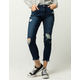 SKY AND SPARROW Fray Ankle Womens Ripped Jeans
