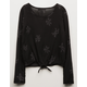 IVY & MAIN Embroidery Tie Front Girls Top