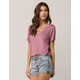 BOZZOLO Light Purple Crisscross Neck Womens Tee